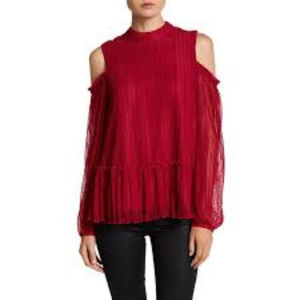 Pretty Red Lace Cold-Shoulder Top NWT $78 M